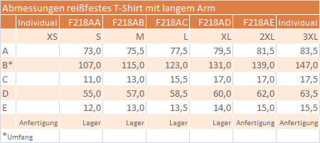 Masstabelle F218 long sleeve T-Shirt